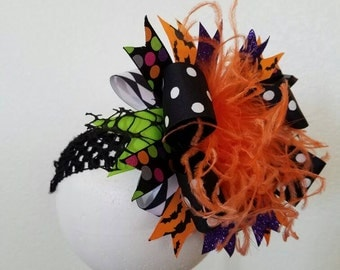 "Halloween ""Batty"" Over The Top Boutique Bow Headband Ostrich Feather"