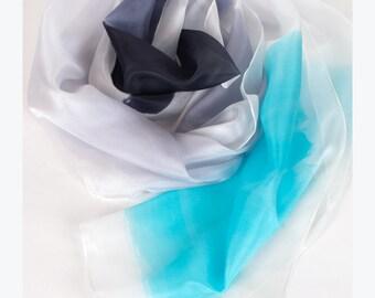 Aquamarine hand painted silk scarf. Ombre silk scarf. Painted silk scarf in aqua and grey. Silk scarves. Luxury painted scarves ponge 6