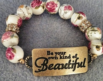 Inspirational Beaded Flower Bracelet