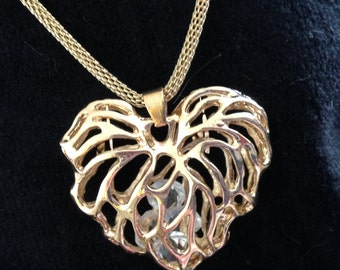 Hollow Heart Necklace w/Crystals