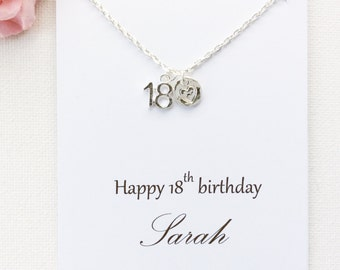 Personalized 18th birthday gift, 18th birthday, eighteenth birthday gift, message card necklace,18th gift, gift for 18th, , christmas gift