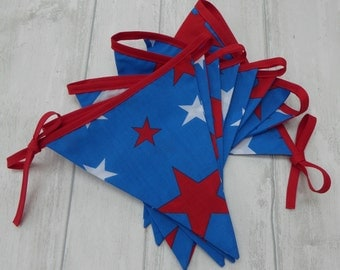 Red, White and Blue Stars Bunting, Boys bunting, Girl bunting, Cake Smash, Photo Prop, Boys room decor, Star bunting, red, white & blue