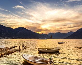Evening seaview around the mountains in Montenegro, Kotor.