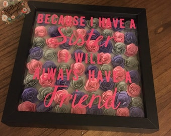 Rolled Rose Shadow Box