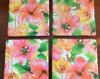 Summer Flower Decorative Tile Coasters