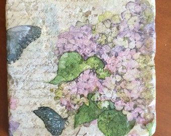 Purple Hydrangea Decorative Tile Coasters