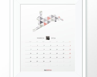 Printable Calendar 2016 INSTANT DOWNLOAD PDF monthly wall calendar