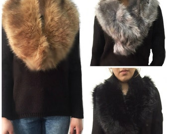 Faux Fur COLLAR, Women's Fur Neckwarmer, Natural Colour Fur Scarf, Handmade Faux fur Stole