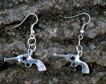 Silver Pistol Gun Earrings Cowgirl Earrings Bridesmaids Western Earrings Bridesmaids gifts Western Country wedding