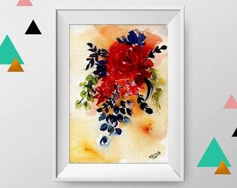 Flower painting, Original watercolor art, Floral painting, watercolor flower painting, pink flower, watercolor flower, mordern art