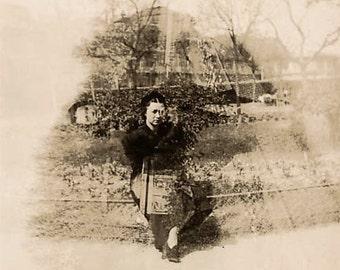 Vintage photo double exposure woman weird creepy strange unusual unique antique sepia photograph 1940s-PRINT