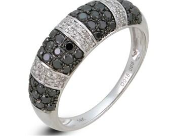 Black & White Diamond 14k White Gold Ring
