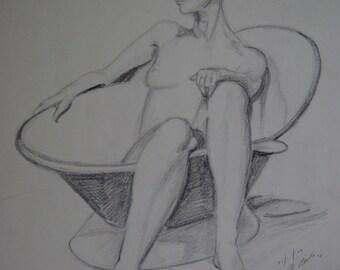 Life Drawing Woman in Bath Tub