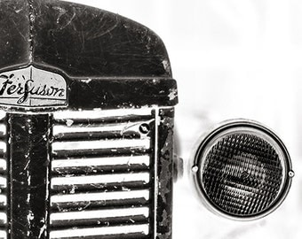 Rustic Tractor Photography, Farm Tractor Print, Farm Photography, Vintage Tractor Print, Tractor Grille, Black And White Wall Art, Ferguson