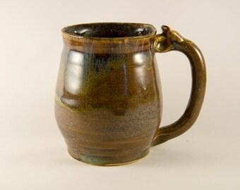Handmade Medium Green & Tan Mug