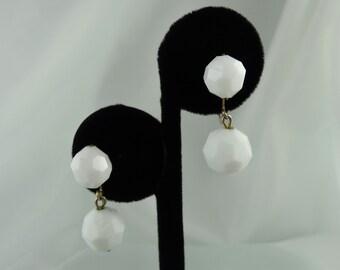 White Ball Clip On Earrings