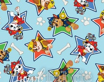 Flannel Fabric - Turquoise Paw Patrol Stars - Fat Quarter Yard +