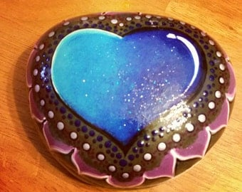 Hand painted Lake superior stone. Blue and purples. Heart.