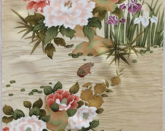 Vintage Kimono Silk Fabric, Japanese Fabric, Peony, Narcissus, Duck