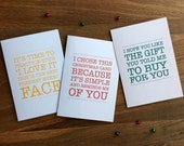 Funny Personalised Charity Christmas Cards - Set of 3 - Simple / Best Christmas Present / Gift