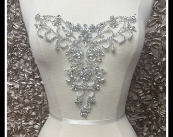 Rhinestone Necklace Applique/ Rhinestone Neckline Applique/ Bridal Applique/ ~ Swarovski Shine #0507