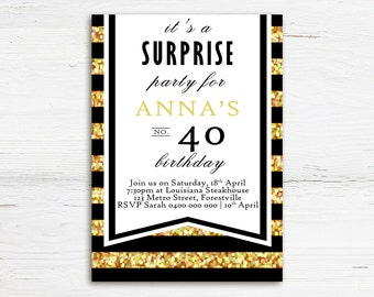 Adult Birthday Invitation, Gold Invitation, Adult Birthday, Milestone Birthday Invitation, 30th Birthday Invitation, Printable Invitation