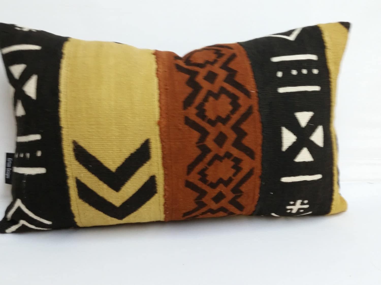 African Mud Cloth Decorative Pillow 18 X 12 Black