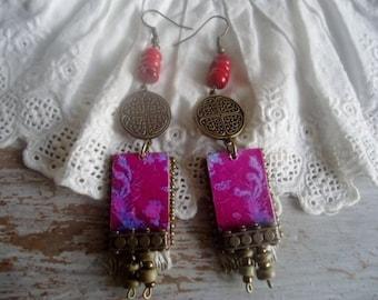 Coral Boho earrings,Bohemian  earrings, dangling earrings,