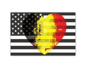B&W American Flag with Belgium Flag Heart Car Magnet 4x6""