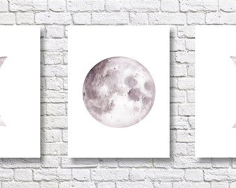 Moon Phases Art Prints - Set of Three - Wall Decor - Watercolor Painting