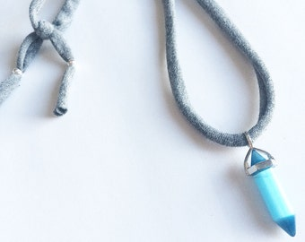 Fabric with stone necklace chakra necklace