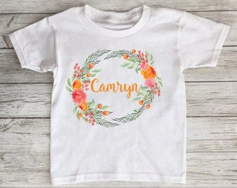 Floral Personalized Toddler Tshirt Baby Onesie