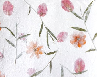 Handmade paper | Natural | Floral pattern | Perfect for paper crafts