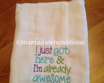 Burp cloth embroidery