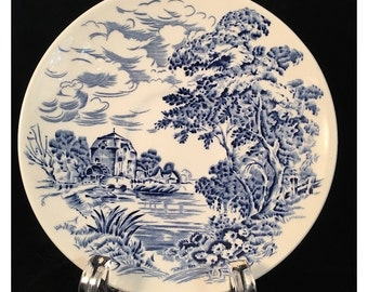 Five saucers, Wedgwood Countryside, blue transferware