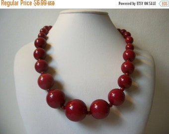 ON SALE Vintage Wine Red Graduated Plastic Beads Necklace 620