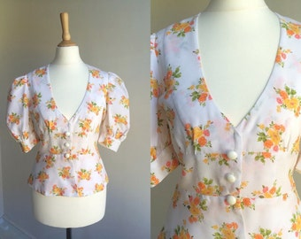 1970s Floral Puff Sleeve Blouse * Size X-Small