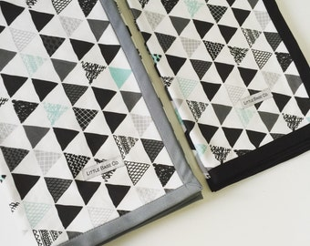 Baby Blanket organic cotton - Mint and Black Triangle - IN STOCK