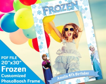 "Frozen photo booth props, frozen party decor, photobooth frame backdrop decorations, 20x30"" Costomized PDF file, girl birthday party, elza"