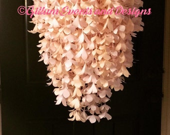 Chandelier, handmade paper flower chandelier with led lights. ID# GED1009