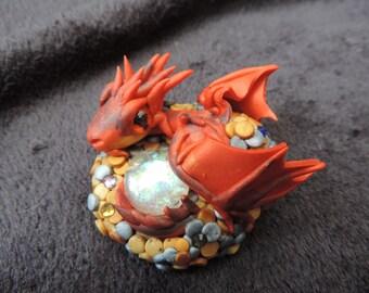 smaug inspired polymer clay dragon