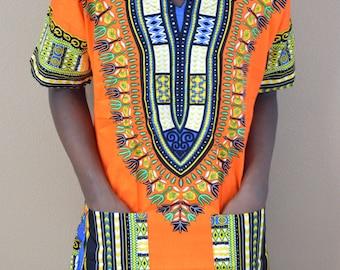 Men Handmade Orage Dashiki Caftan Shirt Tribal African Top