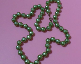Vintage Satin Glass GREEN BEADED / Bead NECKLACE