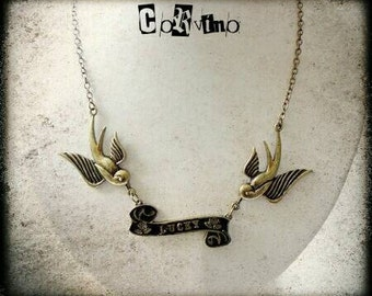 Swallow necklace rockabilly. single piece