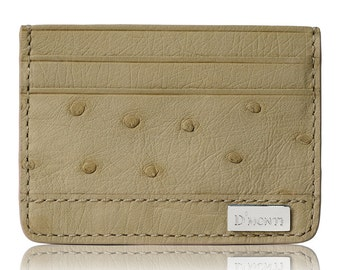 D'Monti Nestier Beige Black Friday gift - France Luxury Genuine Real Ostrich Leather Mens Womens Unisex Credit Card Holder Wallet