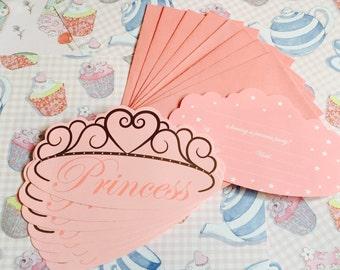 8 x Pink Princess Party Invitations