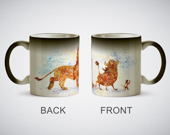 The Lion King Simba Timon Pumbaa Mug Watercolor Art Print cup Coffe Tea Ceramic Cup Kitchen Decor Magic or White Mug picture Kids