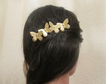 Gold butterflies hair clip Gold Hair Pin Butterfly Bobby Pin Brass Wedding Bridesmaids Bridal Gifts for her Women Hair accessories Girl