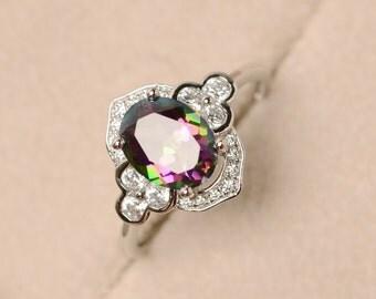Mystic topaz, oval cut ring, rainbow topaz ring, engagement ring