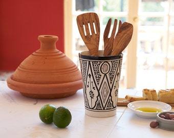 Handmade Moroccan Ceramic Vase/ Utensil Holder, Handpainted Classic Design